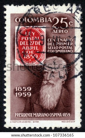 COLOMBIA - CIRCA 1959: A stamp printed in Colombia shows Mariano Ospina, President of Colombia from 1946 to 1950, circa 1959