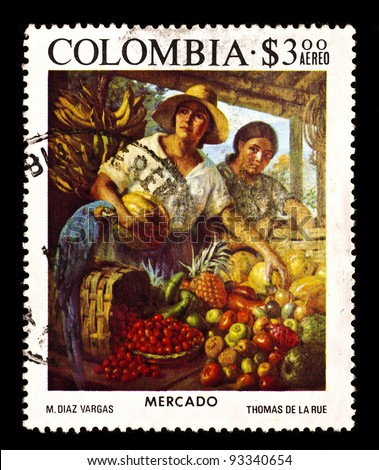 COLOMBIA - CIRCA 1975: A stamp printed in Colombia shows Mercado (M. Diaz Vargas), circa 1975 - stock photo