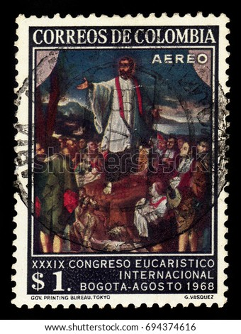 colombia   circa 1968  a stamp...