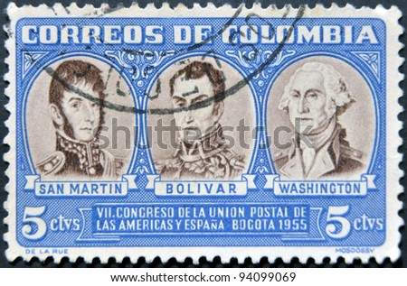 COLOMBIA - CIRCA 1955: A stamp printed in Colombia shows San Martin, Simon Bolivar and George Washington, circa 1955
