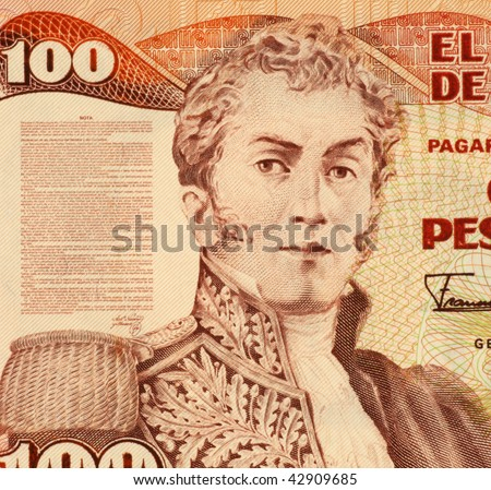 COLOMBIA - CIRCA 1991: General Antonio Narino on 100 Pesos 1991 Banknote from Colombia. He was one of the early political and military leaders of the independence movement in Colombia.