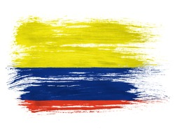 Colombia. Colombian flag  on white background