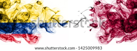 Colombia, Colombian, Qatar, Qatari, competition thick colorful smoky flags. America football group stage qualifications match games #1425009983