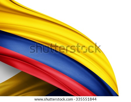 Colombia   flag of silk with copyspace for your text or images and white background Stock photo ©