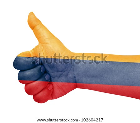 Colombia flag on thumb up gesture like icon