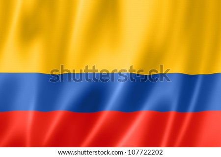 Colombia flag, three dimensional render, satin texture