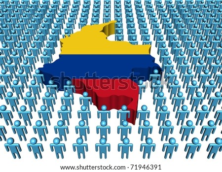 Colombia map flag surrounded by many abstract people illustration