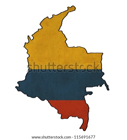 Colombia map on Colombia  flag drawing ,grunge and retro flag series