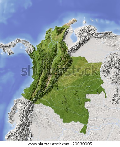 Colombia. Shaded relief map with major urban areas. Surrounding territory greyed out. Colored according to vegetation. Includes clip path for the state area. Data source: NASA