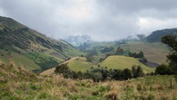 Colombian Andes landscape with green pasture for catle