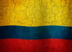 Colombian flag on a cracked grunge background
