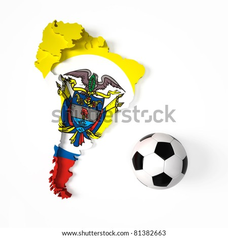 Colombian flag on South American map