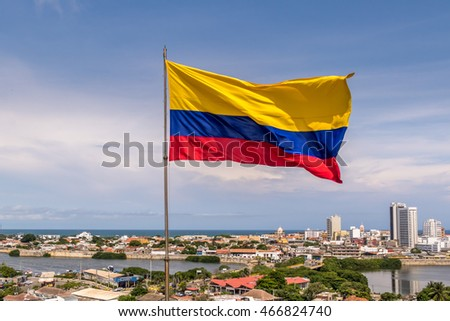 Colombian Flag over city of Cartagena, Colombia Stock photo ©