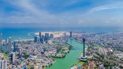 Colombo aerial shot, iconic places in sri lanka, lotus tower sri lanka, drone shot colombo, isolation nation