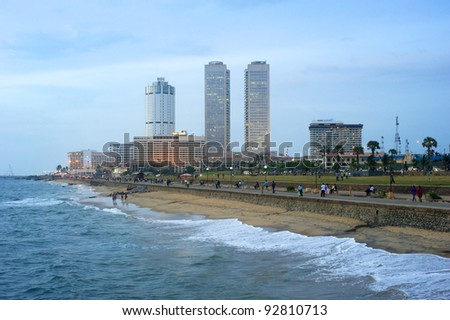 COLOMBO, SRI LANKA - FEBRUARY 22: Panorama of Colombo in the evening on Feb 22, 2011 in Colombo. Colombo is the largest city and former capital of Sri Lanka with population about 1 million people.