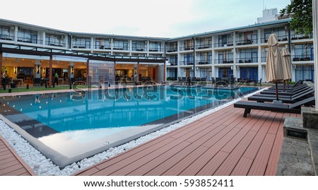 Colombo, Sri Lanka - Sep 8, 2015. Swimming pool at a luxury resort in Colombo, Sri Lanka. Colombo is the financial centre of the island and a popular tourist destination. - Shutterstock ID 593852411