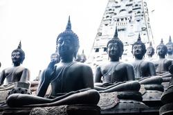 Colombo/Srilanka December 27th 2019: A raw of Buddha statues in Gangaramaya Temple in Colombo, Srilanka