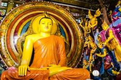 Colombo/Srilanka December 27th 2019: Big Buddha statue in Gangaramaya Temple in Colombo, Srilanka