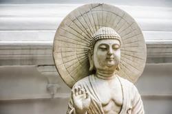 Colombo/Srilanka December 27th 2019: Buddha statue in Gangaramaya Temple in Colombo, Srilanka