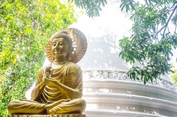 Colombo/Srilanka December 27th 2019: Golden Buddha statue in Gangaramaya Temple in Colombo, Srilanka