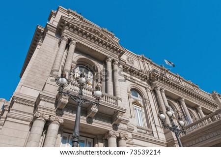 Colon Theatre facade on 9 de julio Avenue at Buenos Aires, Argentina