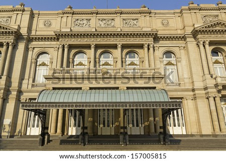 Colon Theatre facade on 9 de julio Avenue at Buenos Aires, Argentina. This Opera House is considered one of the top 5 world's concert halls, comparable with La Scala in Milan or Paris Opera #157005815