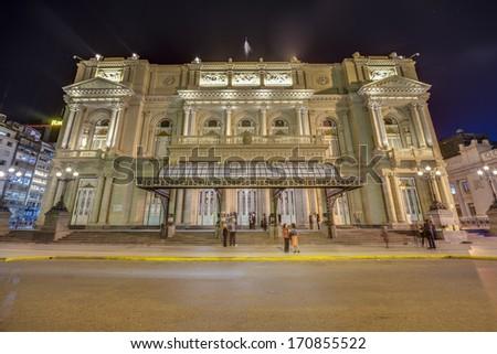 Colon Theatre facade on 9 de julio Avenue in Buenos Aires, Argentina #170855522