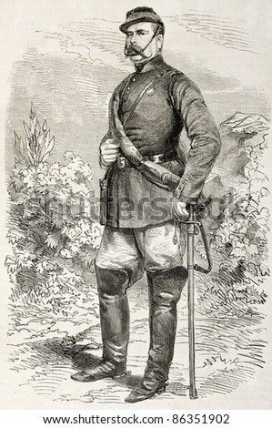 Colonel Fernando Bosco old engraved portrait, Neapolitan army. Created by Janet-Lange, published on L'Illustration, Journal Universel, Paris, 1860
