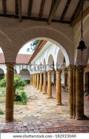 Colonial arches in Santo Ecce Homo monastery near Villa de Leyva in Boyaca department in Colombia