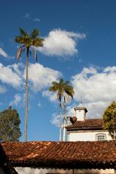 Colonial architecture and nature in Biribiri, Minas Gerais, Brazil. Colonial Church.