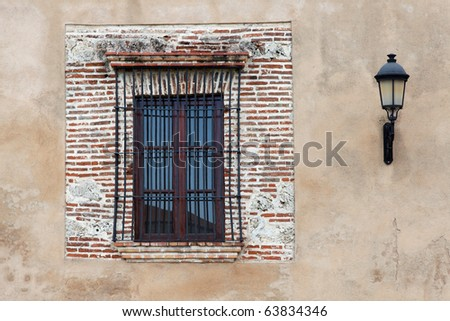 Colonial Architecture Detail. Typical colonial style in Santo Domingo, Dominican Republic