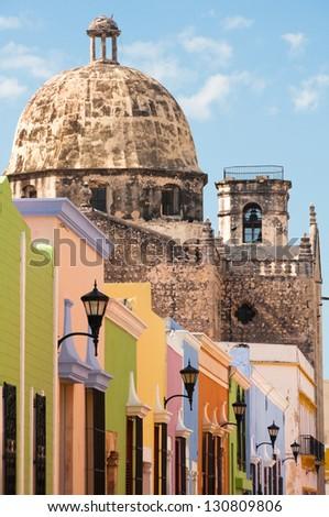 Colonial architecture in Campeche (Mexico)