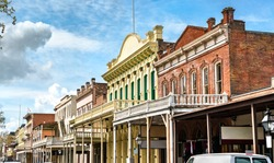 Colonial architecture in Old Sacramento Historic District -California, United States
