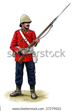 colonial british soldier - stock photo