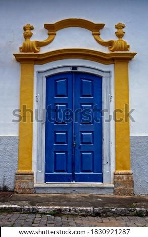 Colonial church door in Sao Joao del Rei, Minas Gerais, Brazil                                 Stockfoto ©