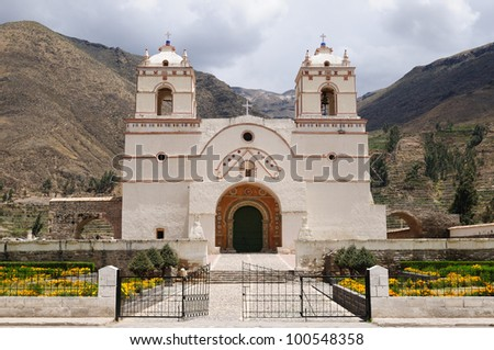 Colonial church on the main plaza in Lari. Colca canyon area.