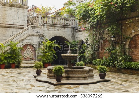 colonial courtyard interior in...
