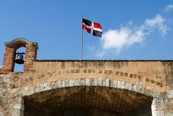 Colonial door with dominican flag at Santo domingo on Dominican Republic