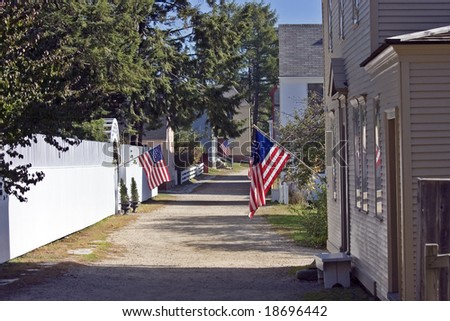 Colonial Era alley with American Flags