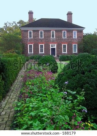 Colonial Home Backyard Garden