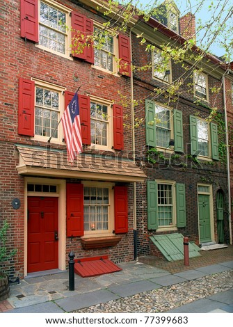 Colonial homes located in Elfrith's Alley in Philadelphia, Pennsylvania.