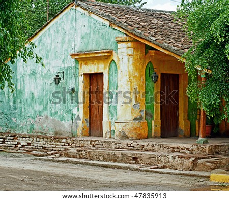 colonial Mexican ranch house - stock photo