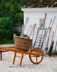 Colonial Wheelbarrow in the Garden Shop in Colonial Williamsburg
