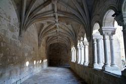 colonnade in medieval spanish monastery of Santo Estevo
