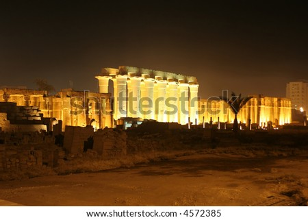 Colonnade of the Luxor temple at night, Egypt