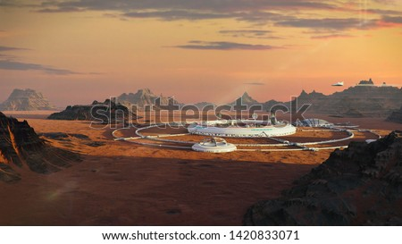 colony on Mars, first martian city in desert landscape on the red planet (3d space illustration) Foto stock ©