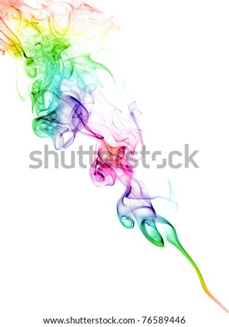 color abstract smoke pattern on a white background