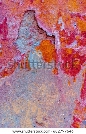 Color abstract wall texture for design. Place for text. Cracks and paint. Classic background. #682797646