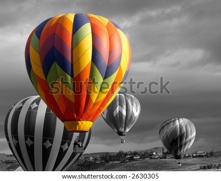 color accented hot air balloon