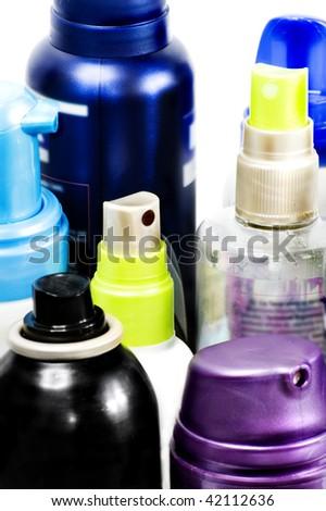 Color aerosols isolated on white background